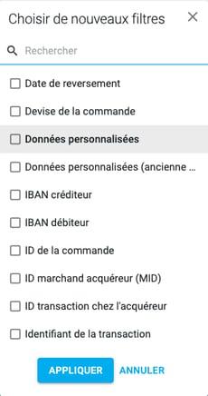 Console liste filtres